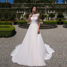 2020 ชุดแต่งงานสายชีฟอง Appliques ลูกไม้ vestidos de novia Scoop คอชุดเจ้าสาว Gowns