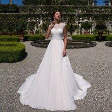 2020 bir çizgi düğün elbisesi şifon aplikler dantel vestidos de novia Scoop boyun gelinlik gelinlikler