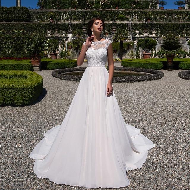 2020 linia suknia ślubna szyfonowe aplikacje koronkowe vestidos de novia z wycięciem suknia dla panny młodej suknie ślubne