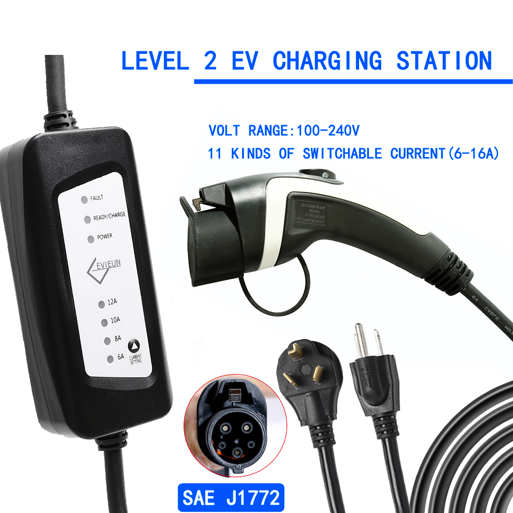 Norme US 10-30 Type 2 EV chargeur Station prise 100 V-240 V 16A pour voiture électrique (NEMA6-20 avec adaptateur pour NEMA5-15 et NEMA10-30)