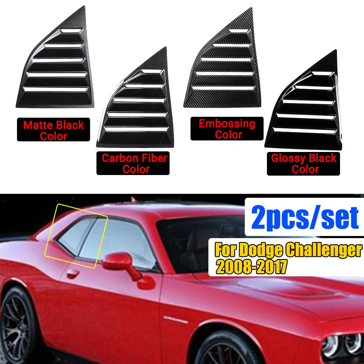 1 Pair ABS Black Carbon Fiber Color Window Scoops Louver Side Vent Window Covers For Dodge Challenger XE 2008-2017