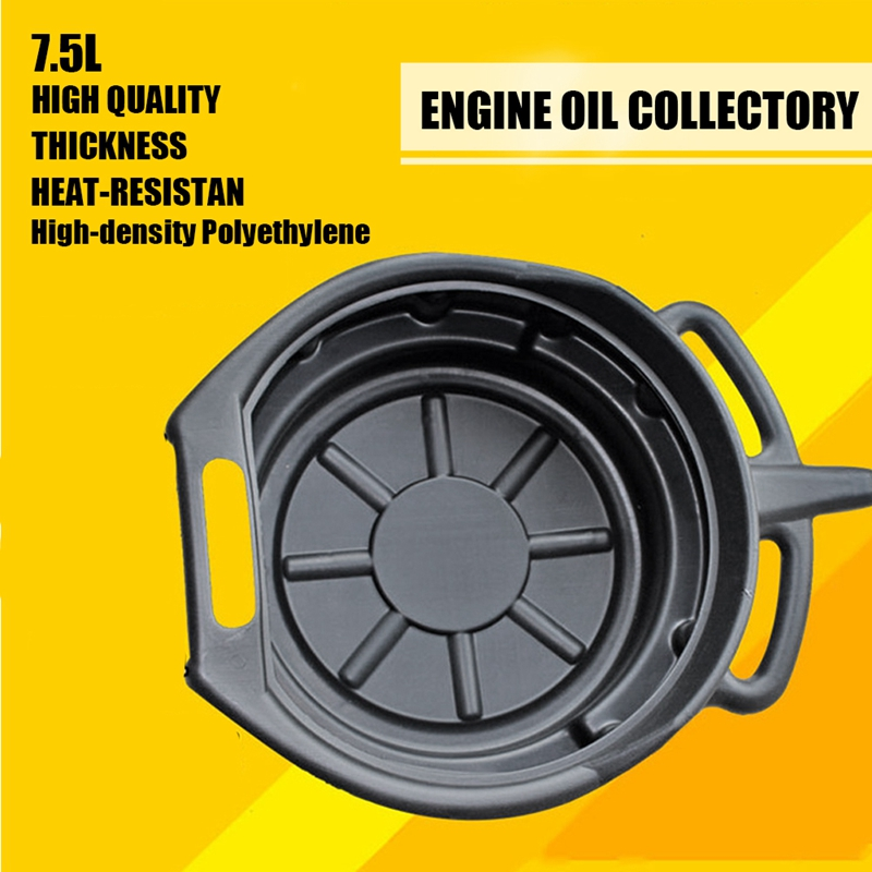 7.5L Oil Drain Pan Waste Engine Oil Collector Tank Gearbox Oil Trip Tray for Repair Car Fuel Fluid Change Garage Tool enlarge