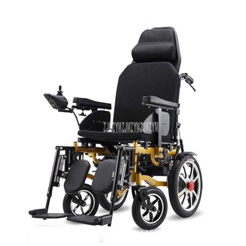 Assis/couché fauteuil roulant électrique cadre en acier au carbone personnes âgées handicapées Patient pliable fauteuil roulant 10 + 16 pouces roue 24V 12Ah/20Ah
