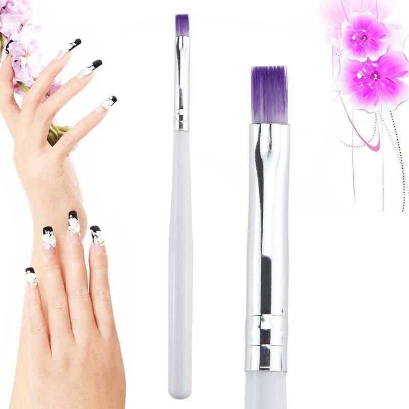 1 Pcs Durable Portable Nail Art Painting Brush White Handle UV Gel Pen Manicure Tool