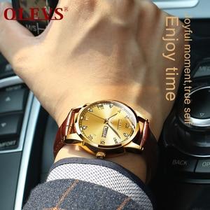 Image 5 - OLEVS Watch Men Brown Leather Quartz Auto Date Calendar Original Brand Waterproof Business Wristwatch Fashion Male