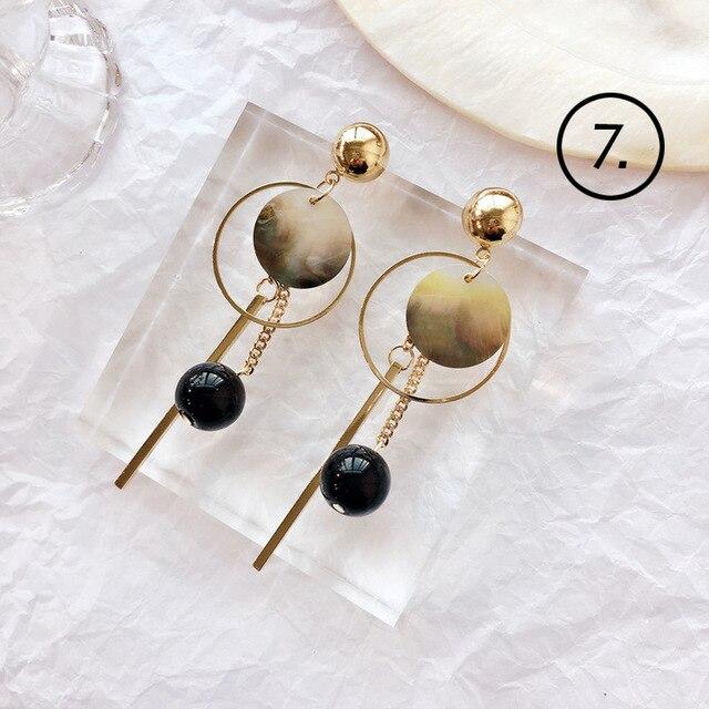 2018 Simple nuevo accesorios de moda para mujer Bohemia Mori Girl Shell Lace Pendientes de gota geométricos para chica estudiante parte de joyería