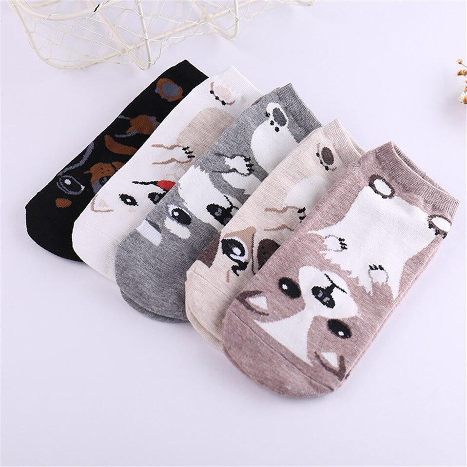 5 Pairs/Lot Cotton Printing Tube Socks Harajuku Cute Dog Pug Funny Socks Women Cartoon Sox Floor Unisex Socks Female Animal Soks