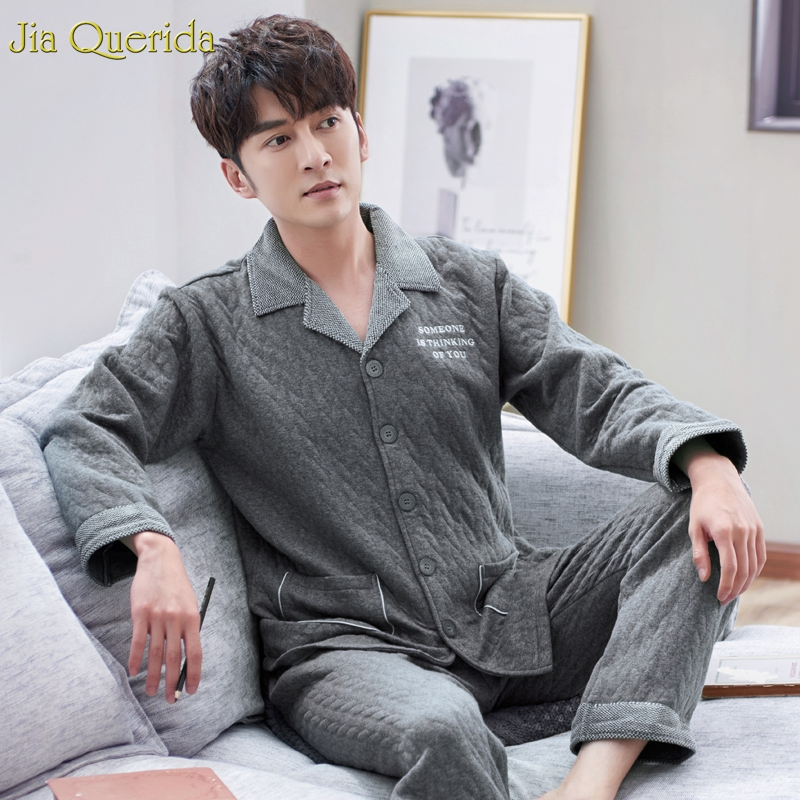 Embossing Pattern Elegant Pajamas Sleeping Suit For Men Chinese Direct High Quality Double Side 100% Cotton Plus Size Pajama Set