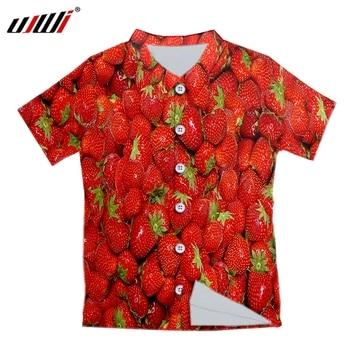 UJWI Fashion Funny Short Shirts Men Women 3d Print Strawberry Hawaiian Casual Streetwear Hip Hop Shirt Harajuku Short Sleeve 1