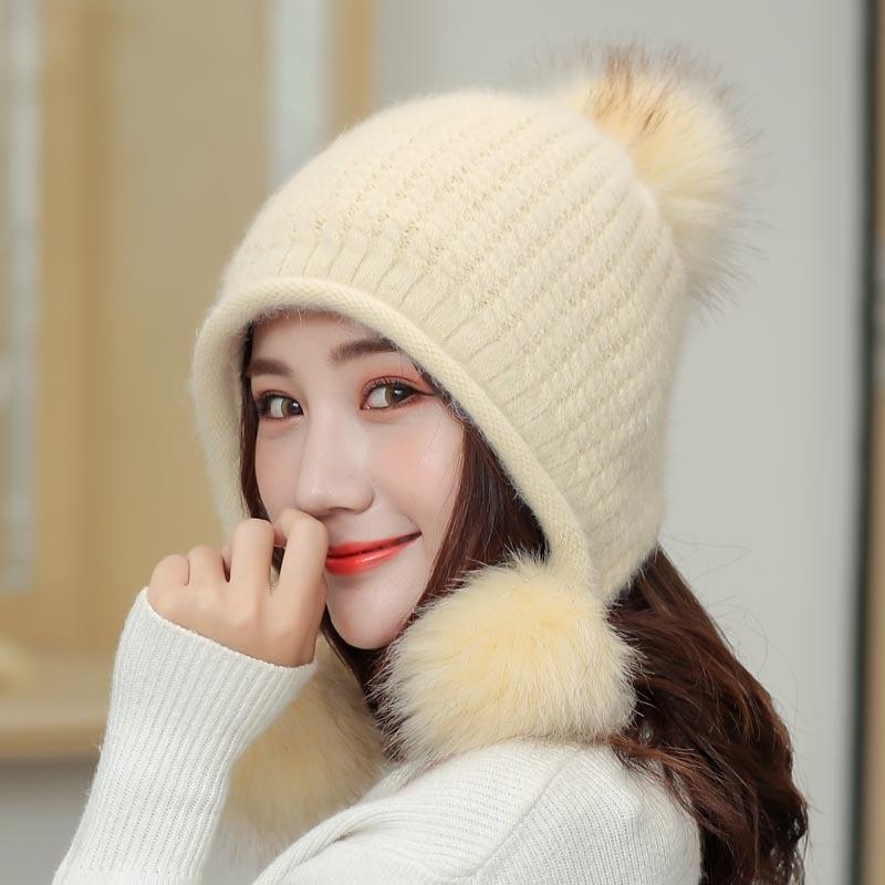 Women Winter Hats Fur-Ball Hip-Hop-Caps Cotton Unisex for Blended Warm