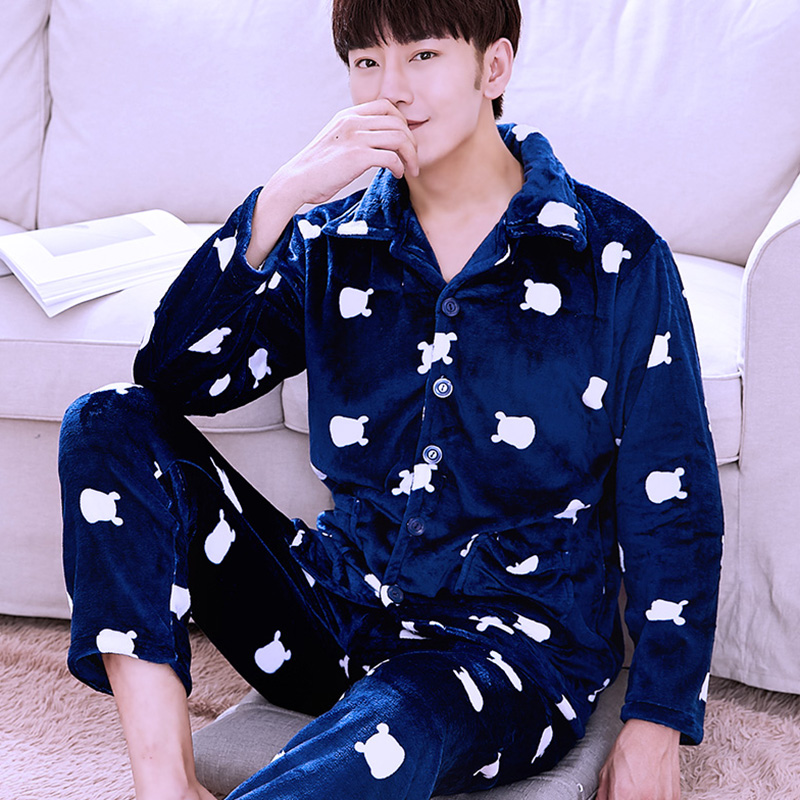 H5748 Winter Thickened Flannel Men Pajamas Male Plus Velvet Warm Coral Fleece Home Wear Suit Long Sleeve Lapel Leisure Nightwear