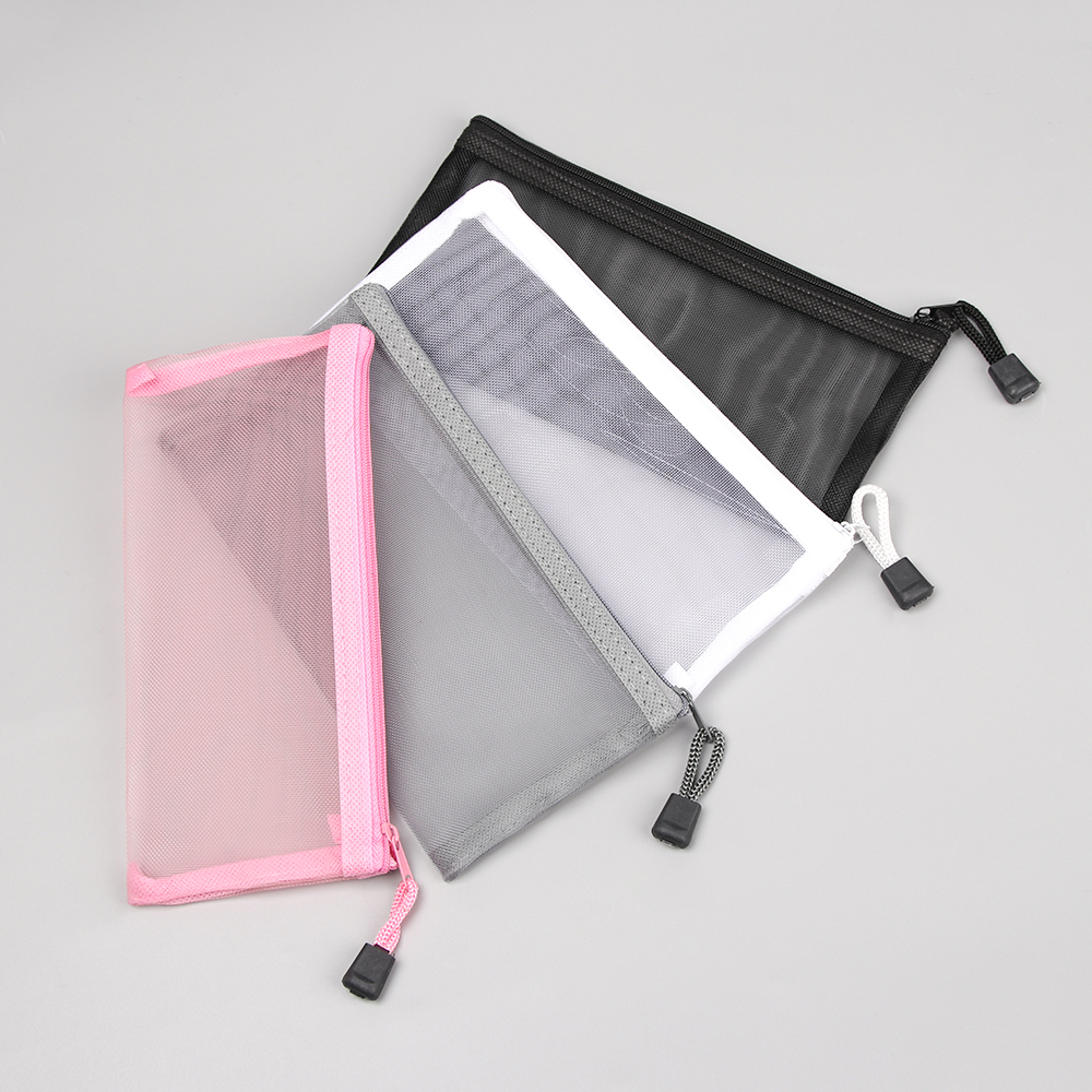 1PC Simple Transparent Mesh Pencil Case Office Student Pencil Cases Nylon Document Bags School Supplies Pen Box Stationery Cases