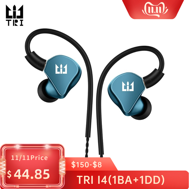 TRI I4 1BA+1DD Hybrid in Ear Earphone Running Sport Technology HIFI earplug with 3.5mm MMCX Earbud