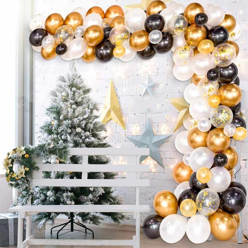 123pcs Set Balloon Garland Arch Kit Black Gold White Balloons For