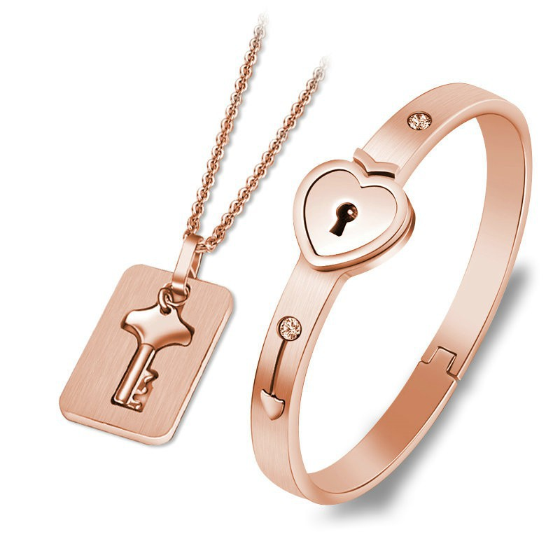 Fashion Concentric Lock Key Titanium Steel Stainless Steel Jewelry Bracelet Necklace Couple Sets(China)