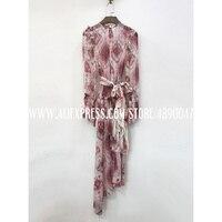 Summer long sleeved dress 2020 Women's geometric pattern printed beach silk dress casual long sleeved round neck elegant dress
