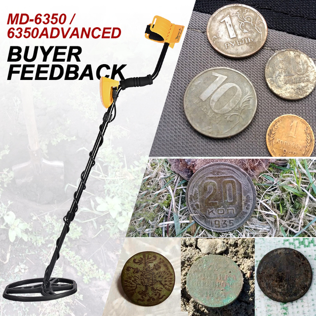 Underground Metal Detector Professional MD6350 Gold Digger Treasure Hunter MD6250 Updated MD-6350 Pinpointer LCD Display 2
