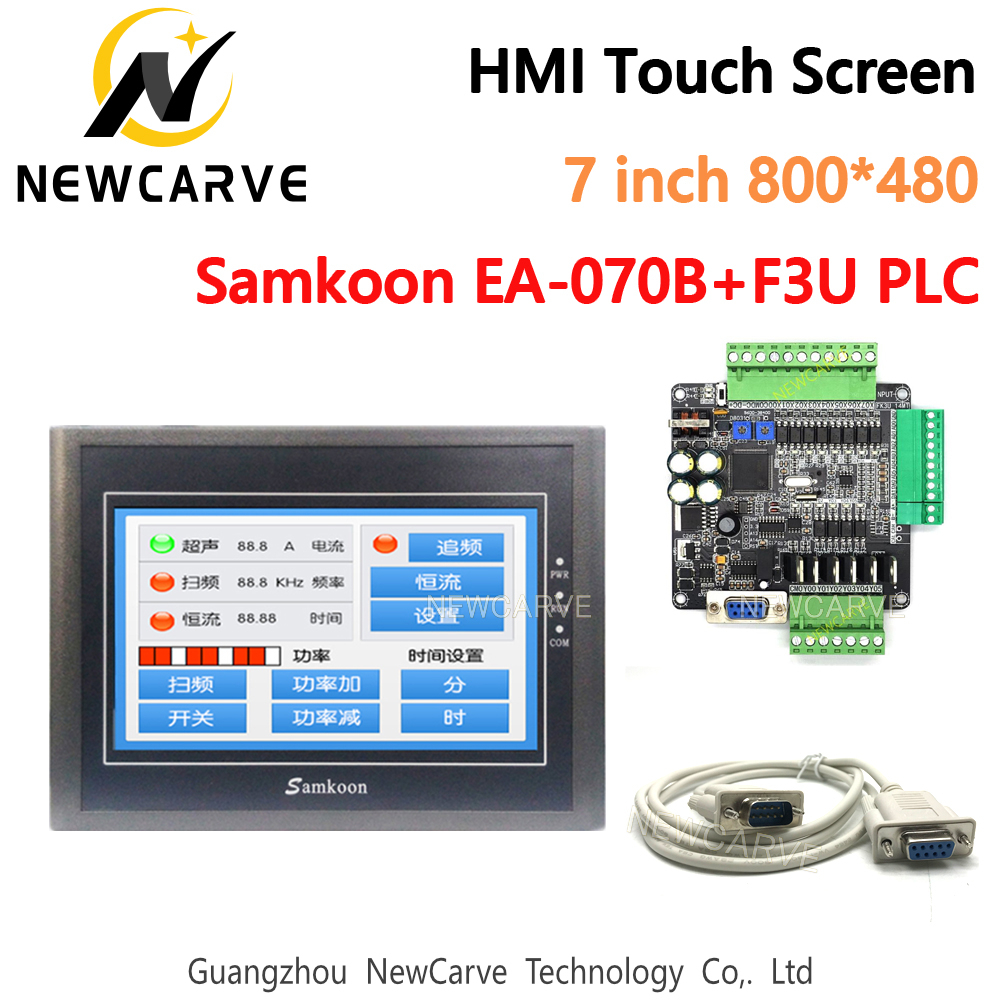 Samkoon EA-070B HMI Touch Screen 7 Inch And FX3U Series PLC Industrial Control Board RS485 With DB9 Communication Line Newcave