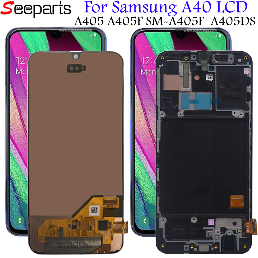 For <font><b>Samsung</b></font> Galaxy <font><b>A40</b></font> A405 A405F A405FN/DS <font><b>LCD</b></font> Display Touch Screen Digitizer Assembly With Frame For <font><b>SAMSUNG</b></font> <font><b>A40</b></font> <font><b>LCD</b></font> Screen image