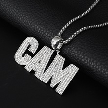 купить Hip Hop Crystal Letters CAM Pendant Necklace Iced Out Silver Color Chains Pendant For Mens CZ Hiphop Fashion Jewelry Gifts дешево