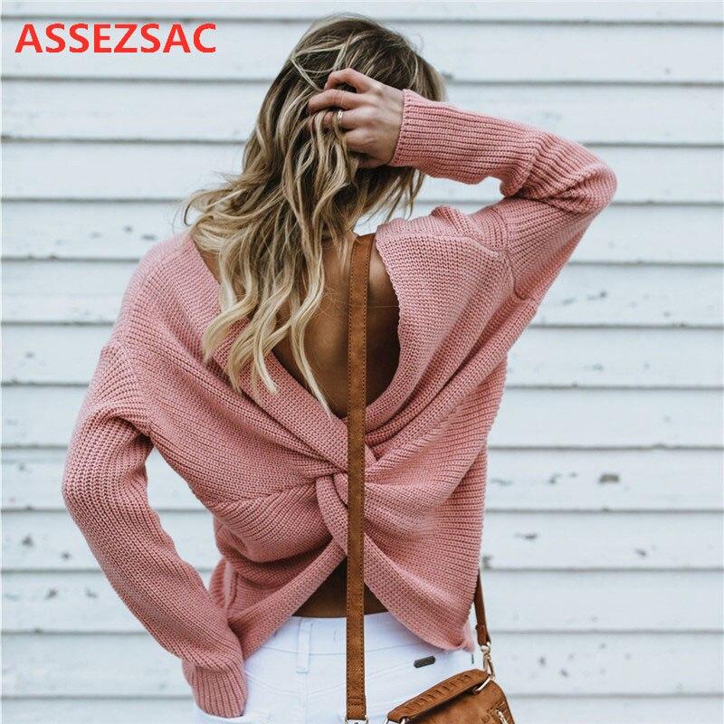 Новинка 2020, женский свитер ASSEZSAC на осень и зиму, сексуальный пуловер с открытой спиной и перекрестной шнуровкой, вязаная свободная одежда, М...