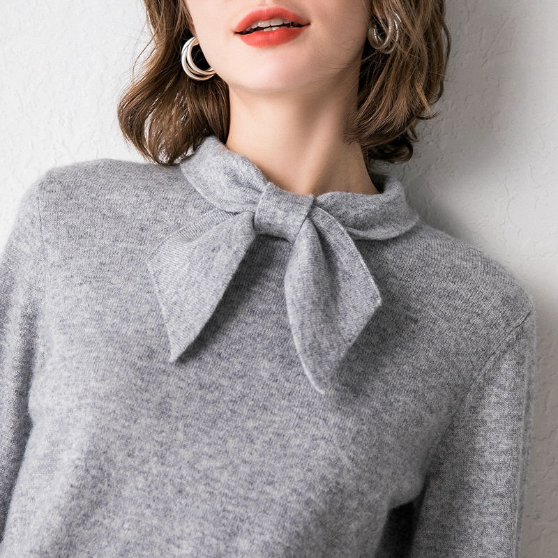 Smpevrg Autumn New Bow-knot Collar Cashmere Sweater Women Pullover Long Sleeve Soft Fit Female Pullovers Women Sweaters Knitted