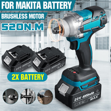 20V Brushless Electric Impact Wrench 520N.m Rechargeable 1/2 Socket Cordless Wrench Screwdriver Power Tools for Makita Battery