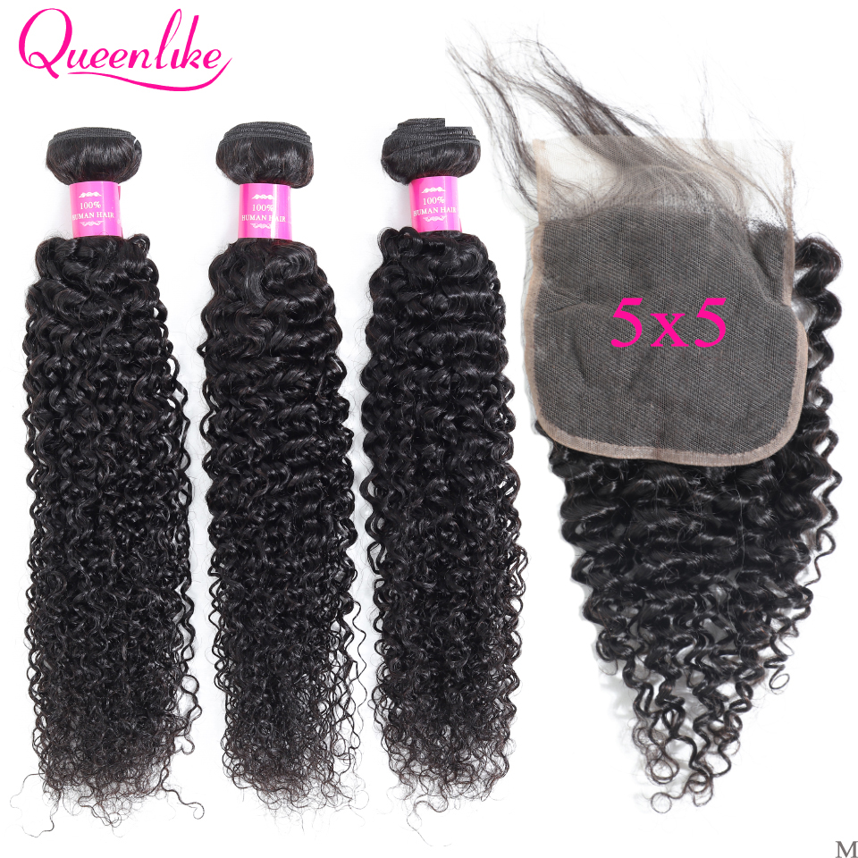 5x5 Closure With Bundles 100% Human Hair Bundles Weaving Queenlike Non-Remy M 3 Malaysian Kinky Curly Bundles With Closure