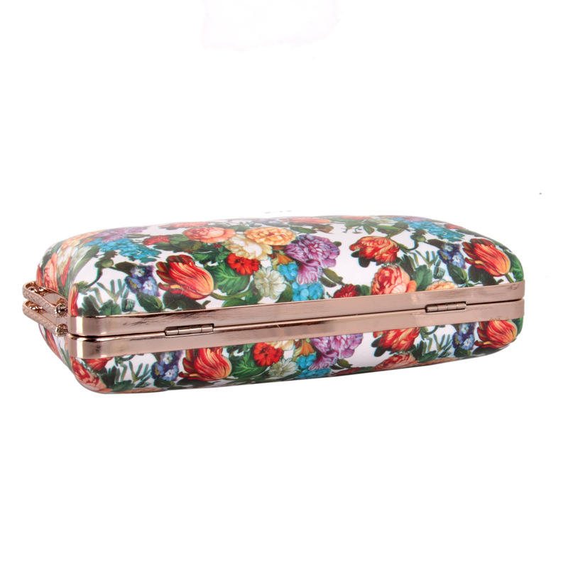 Luxury Two Chains Crystal Clutch Bag For Evening Wedding White Purse PU Leather Rose Floral Women's Shoulder Messenger Handbags