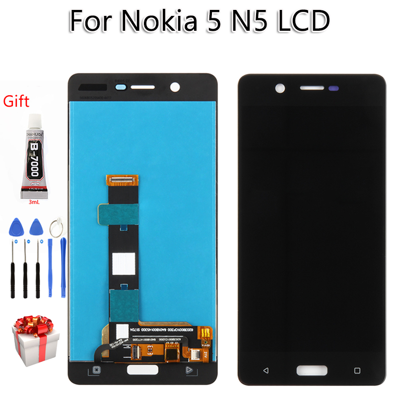 AAA Quality For Nokia 5 N5 <font><b>TA</b></font> 1008 1030 <font><b>1053</b></font> LCD Display Touch Screen Digitizer Assembly Replacement Free Tools image