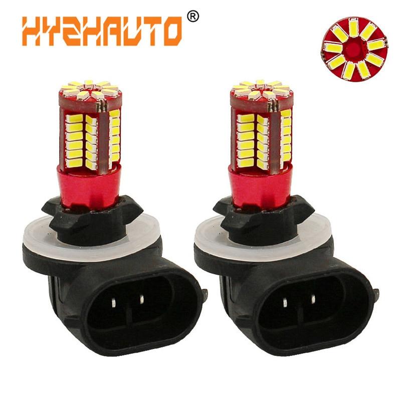HYZHAUTO 2Pcs H27 880 881 LED Fog Lights DRL Car Daytime Running Light Driving Lamp 57 Smd 3014 LED White 6500K 12V