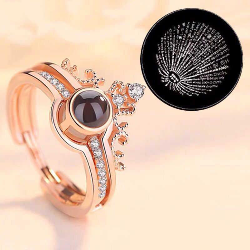 Dropshipping I love you โปรเจคเตอร์แหวนแต่งงานโรแมนติก Rose Gold & Silver 100 ภาษาเครื่องประดับสำหรับของขวัญ