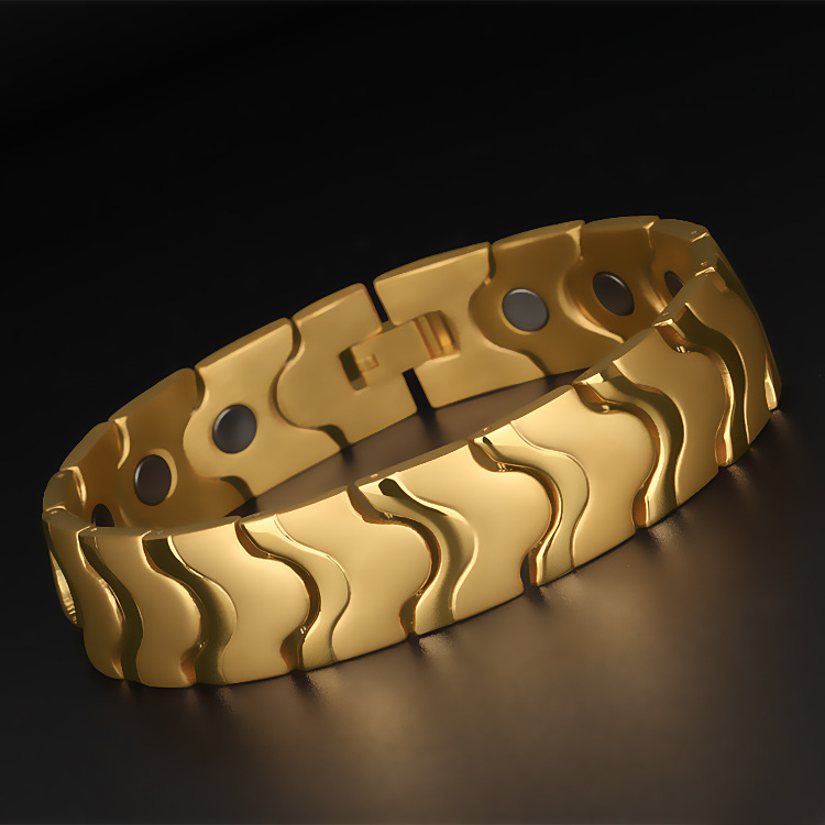 16MM Wide Magnetic Stainless Steel Bracelet Men Therapy Arthritis Healing Magnets Men's Gold Bracelets Masculine Jewelry