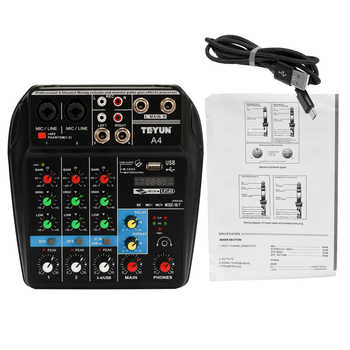 TU04 BT 4 Channels Sound Mixing Console Record 48V Phantom Power Monitor AUX Paths Plus Effects Audio Mixer with USB - Category 🛒 Sports & Entertainment