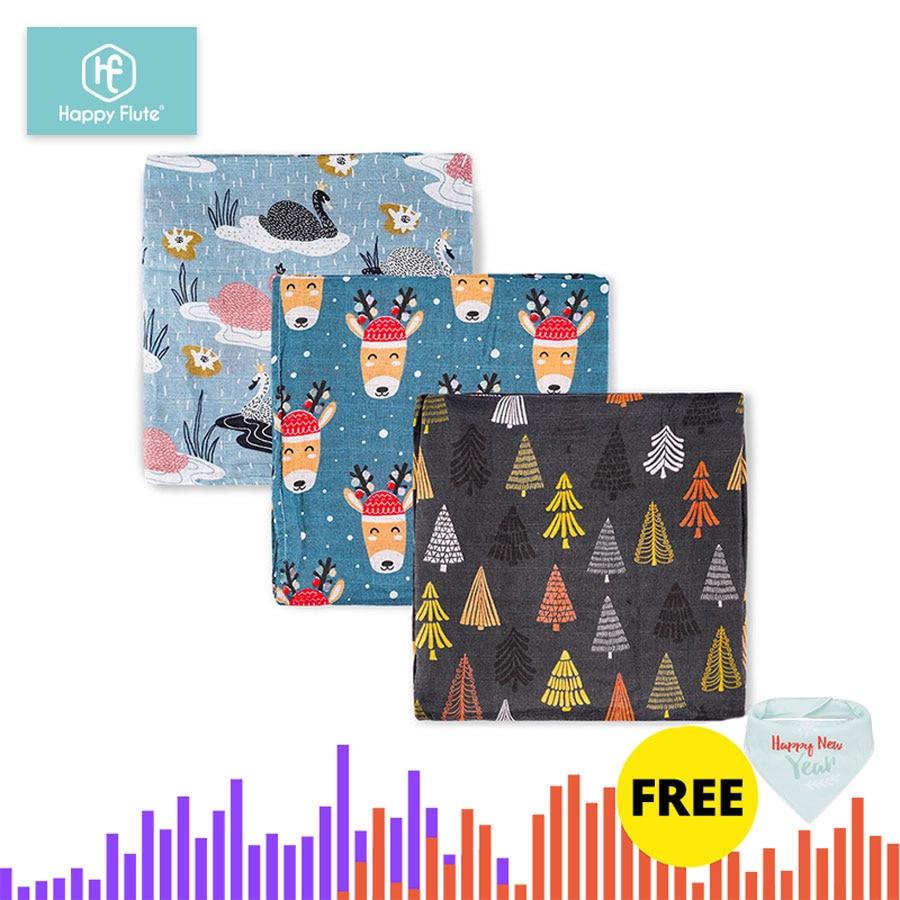 HappyFlute 3Pcs/Lot Baby Cotton Muslin Swaddles Soft Newborn Blankets Sleepsack Stroller Cover Play Mat Girls And Boys Swaddle