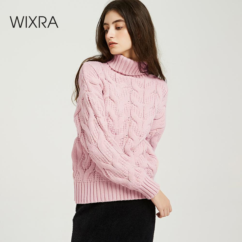Wixra Sweaters 2019 Autumn Winter Solid Thick Turtleneck Casual Ladies Knitted Sweater Pullovers Women's Jumpers