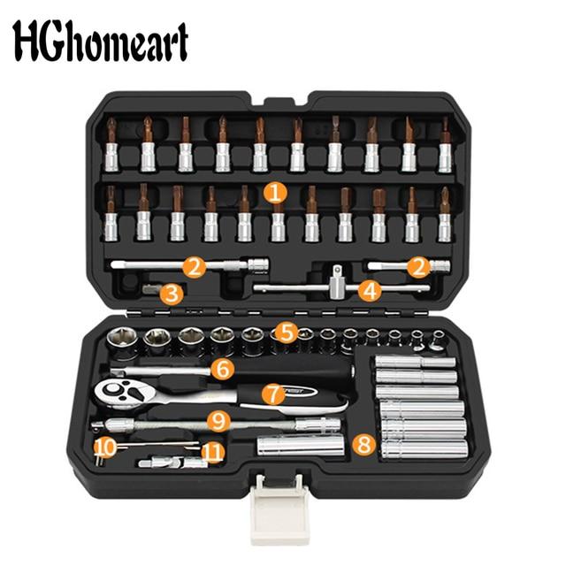 HGhomeart el aracı Set araba tamir araçları cırcır soket anahtar alet seti toplu kafa ev onarım aracı seti