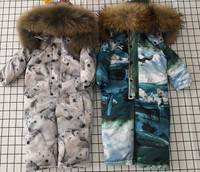 baby mother Winter Women Down Jumpsuit Girl's Down Rompers Natural Fur Female Down Jackets Girl Down Catsuit Snow Wear