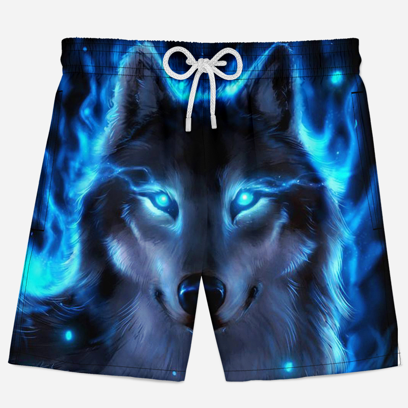 Wolf Printed 3D Shorts Men Funny Summer Beach Shorts Breathable Quick Dry 3d Animal Printed Shorts Animal Design Sport Shorts