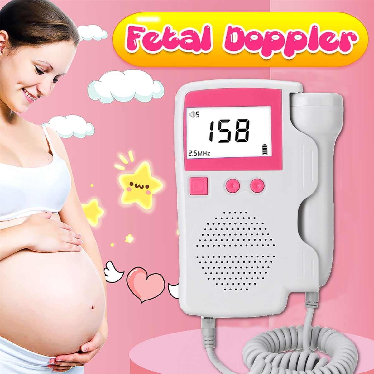 Household Fetal Doppler Baby Heart Sound Monitor LCD Digital Prenatal Screen Display