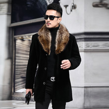 Overcoat Male Wool Blend Autumn Winter Coat Men With Artifical Fur Collar