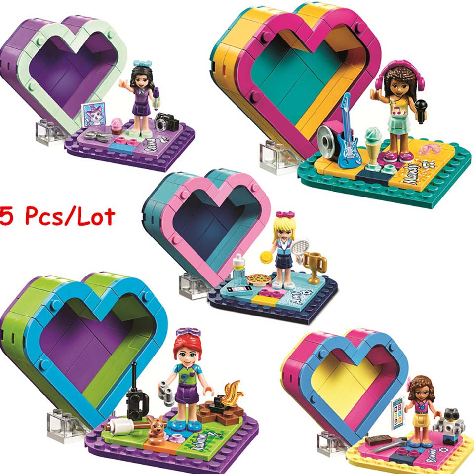 5pcs/lot Emma's Olivia's Mia's Heart Box Compatible Legoinglys Friends Girl Building Blocks Kit Bricks Classic Model Kids Toys