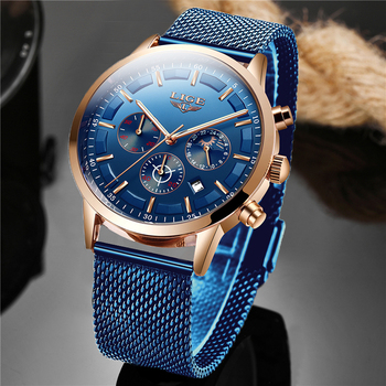 LIGE Top Brand Luxury New Fashion Simple Watch for Men Blue Dial Mesh Belt Sport Waterproof Watches Moon Phase Wrist - discount item  90% OFF Men's Watches