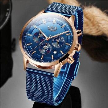 LIGE haut marque de luxe nouvelle mode Simple montre pour hommes cadran bleu montre maille ceinture Sport étanche montres lune Phase montre-bracelet
