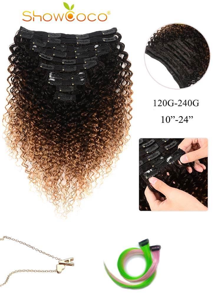 ShowCoco человеческие волосы для наращивания T1b/4/27 цветов вьющиеся заколки для волос машинное изготовление волос Remy 10-24 дюйма накладные волосы ...