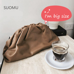 Day clutch Evening party purse bag women large big ruched pillow bag leather pouch handbag 2019 summer bag white brown(China)