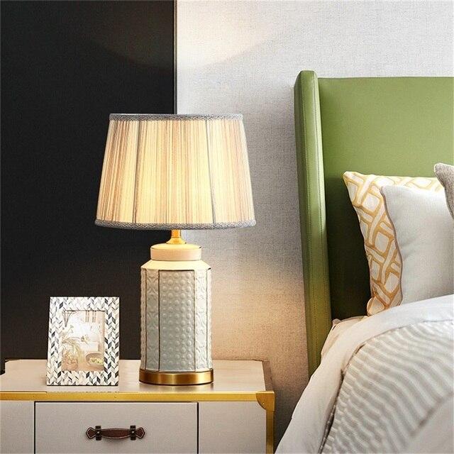 Фото латунные настольные лампы oufula керамический светильник для