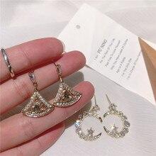 Korean Drill moon Fashion Earrings indian statement bohemian  drop women jewelry luxury vintage rhinestone earrings цена