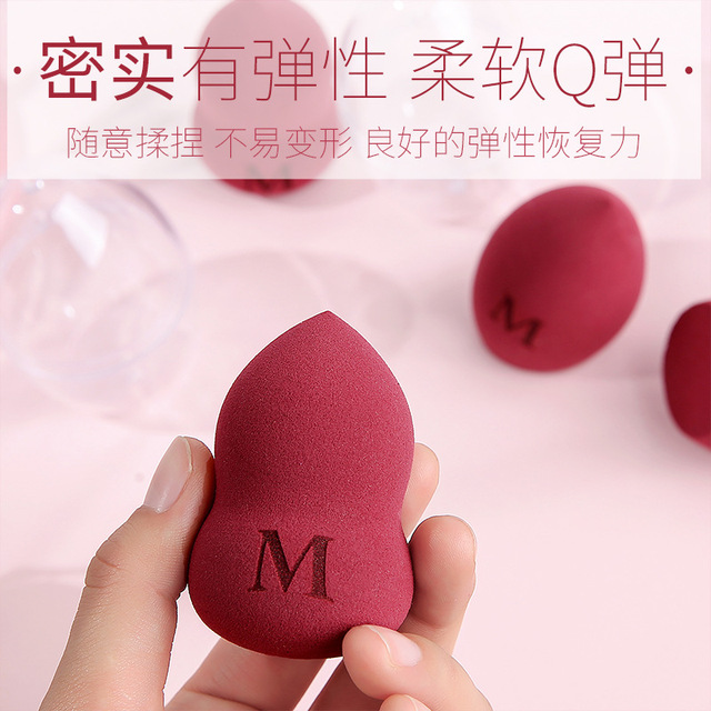 3 PCs Ultra-Soft Gourd Water Droplet Cosmetic Egg Sponge Puff Wet And Dry Dual Purpose Air Cushion Storage Rack Puff Soap Makeup 2