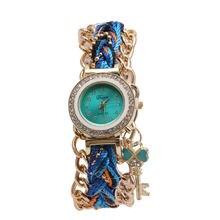 Женская этническая коса кварцевые часы стильный браслет с кристаллами